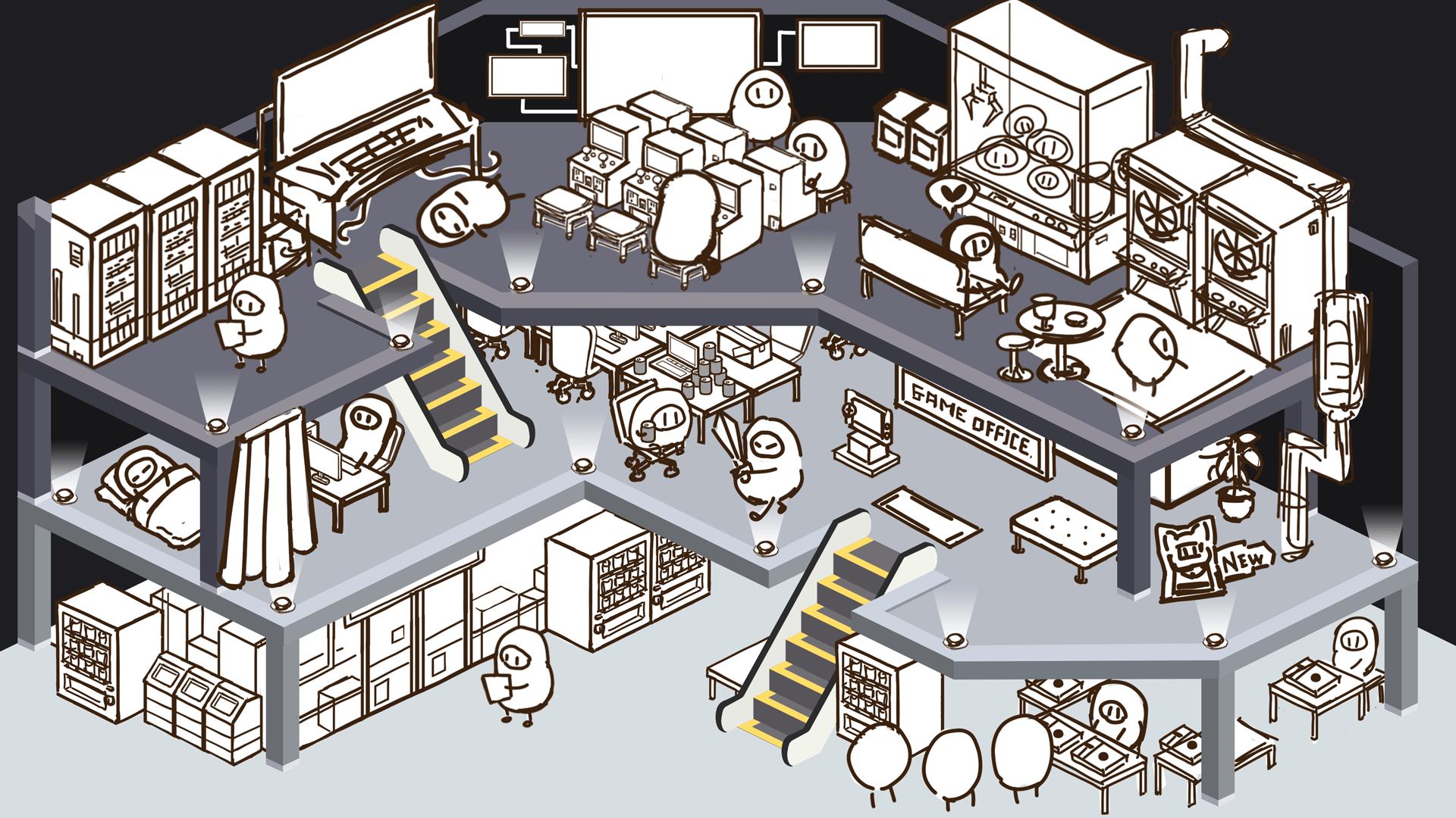 【ゲーム会社】アプリゲーム会社を再現した箱庭イラスト制作をスタート!
